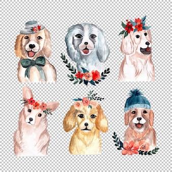 Ilustração de cães na coleção de aquarela