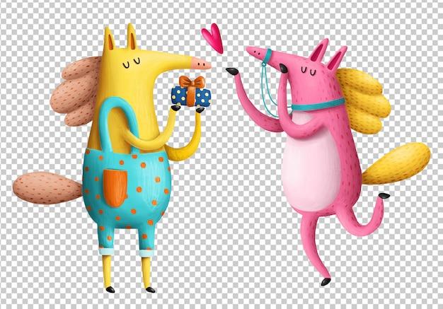Ilustração de cavalos dos desenhos animados