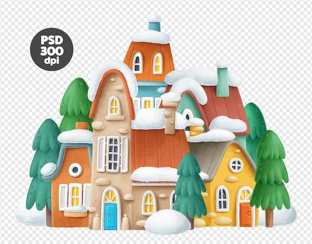 Ilustração de cidade de inverno