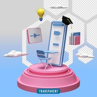 Ilustração de educação online renderização 3d