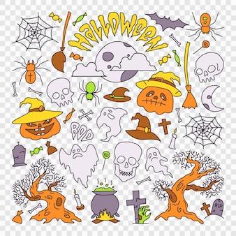 Ilustração de elementos de festa de halloween conjunto de ícones no estilo cartoon