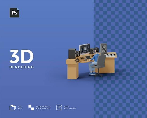 Ilustração de engenheiro de som 3d