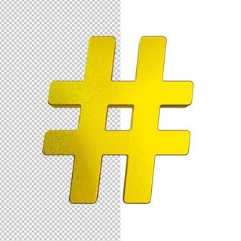 Ilustração de hashtag dourada isolada