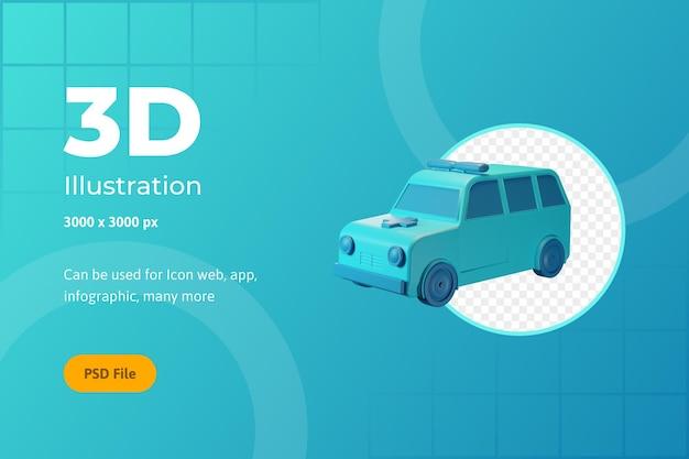 Ilustração de ícone 3d, saúde, ambulância, para web, aplicativo, infográfico