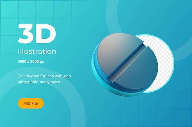 Ilustração de ícone 3d, saúde, comprimidos médicos, para web, aplicativo, infográfico