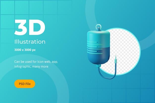Ilustração de ícone 3d, saúde, infusão, para web, aplicativo, infográfico
