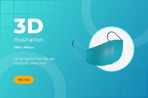 Ilustração de ícone 3d, saúde, máscara, para web, aplicativo, infográfico
