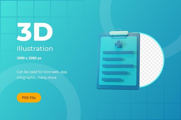 Ilustração de ícone 3d, saúde, notas médicas, para web, aplicativo, infográfico