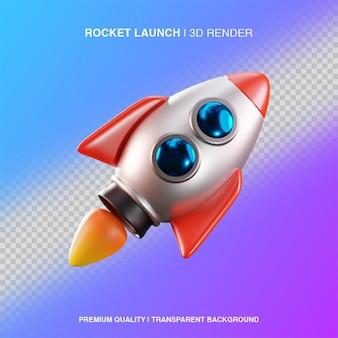 Ilustração de lançamento de foguete 3d isolada