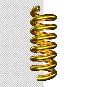 Ilustração de mola dourada isolada
