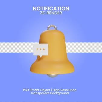 Ilustração de notificação 3d isolada