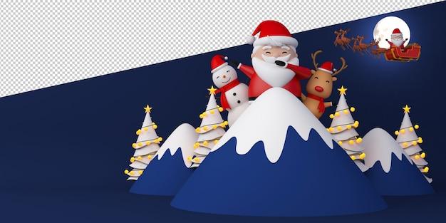 Ilustração de papai noel, boneco de neve e renas