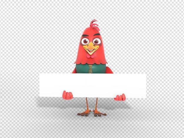Ilustração de personagem 3d bonito segurando banner de cabeçalho em branco para anúncio