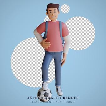 Ilustração de personagem 3d do mascote do futebol masculino