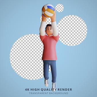 Ilustração de personagem 3d do mascote do vôlei masculino