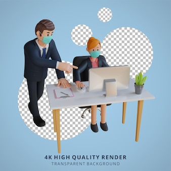 Ilustração de personagem empresário e empresária renderização 3d