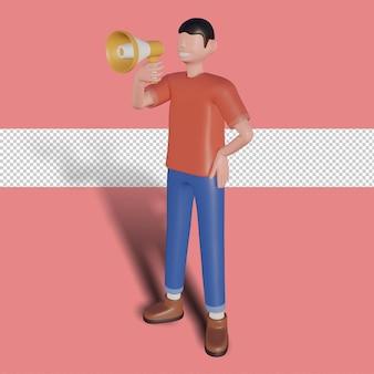 Ilustração de personagens 3d conceito de anúncio feliz