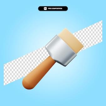 Ilustração de renderização 3d com pincel de pintura isolada