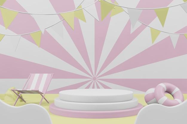 Ilustração de renderização 3d da vitrine de exibição de palco no pódio de verão