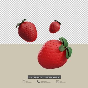 Ilustração de renderização 3d de frutas de morango
