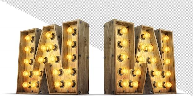 Ilustração de renderização 3d de madeira alfabeto lâmpada