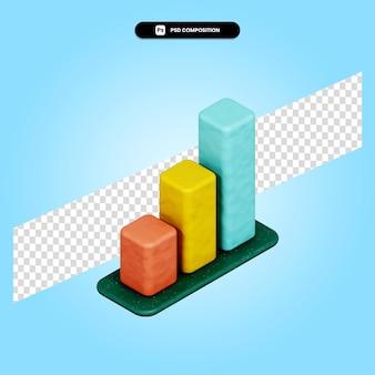 Ilustração de renderização 3d do gráfico de barras isolada