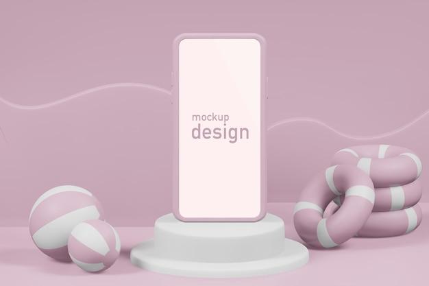 Ilustração de renderização 3d do palco do pódio de verão com maquete de telefone
