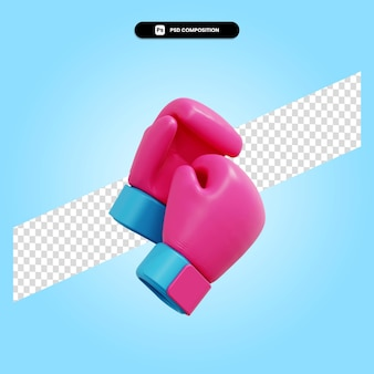 Ilustração de renderização 3d isolada de luvas de boxe