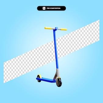 Ilustração de renderização 3d isolada de patinete de chute