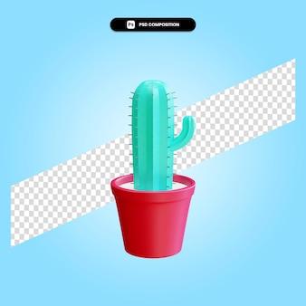 Ilustração de renderização 3d isolada de planta de cacto