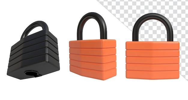 Ilustração de renderização de ícone 3d fechadura de negócios