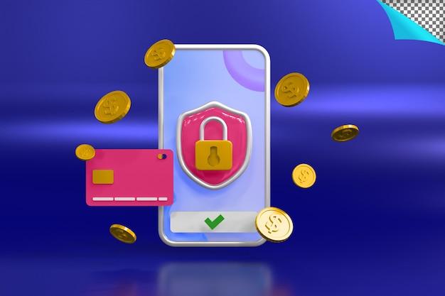 Ilustração de renderização em 3d de segurança de pagamento online