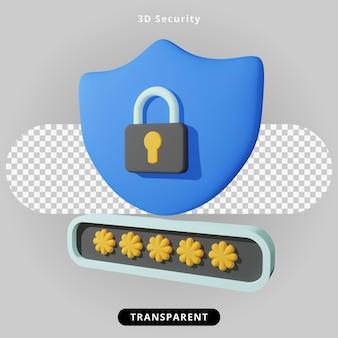 Ilustração de segurança de renderização em 3d e bloqueio de senha