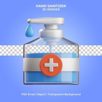 Ilustração desinfetante para as mãos 3d render isolado premium psd
