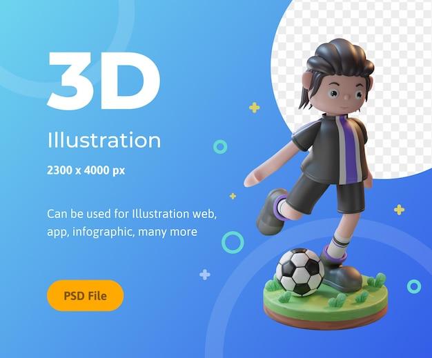 Ilustração do conceito de renderização 3d de personagens de jogadores de futebol, usada para web, aplicativo, infográfico, etc.