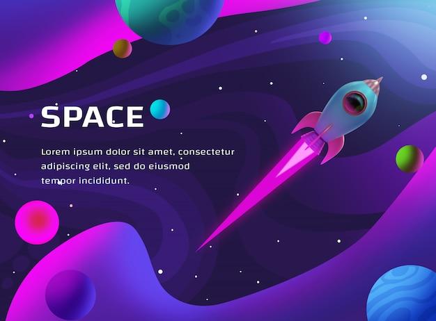 Ilustração do espaço com foguetes e planetas