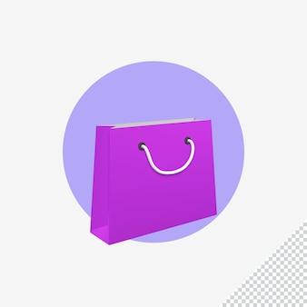 Ilustração do ícone do saco de papel 3d