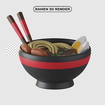 Ilustração do ícone dos desenhos animados de ramen 3d