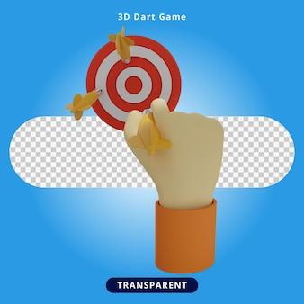 Ilustração do jogo de dardos com renderização 3d