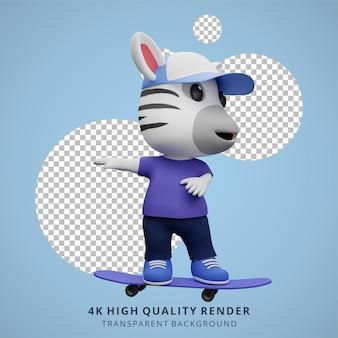 Ilustração do mascote personagem 3d bonito do skatista zebra