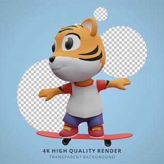 Ilustração do mascote personagem 3d bonito do tigre skatista