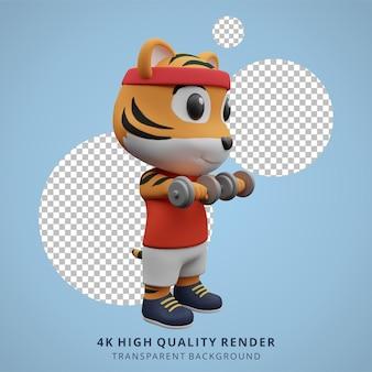 Ilustração do mascote personagem 3d bonito tigre fitness ginásio animal
