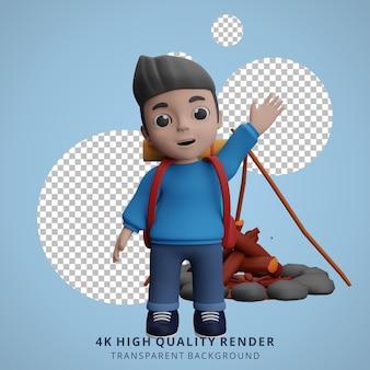 Ilustração do personagem 3d do mascote do acampamento do menino acenando