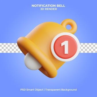 Ilustração do sino de notificação 3d render isolado premium psd