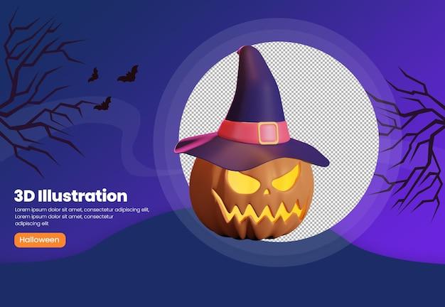Ilustração do tema abóbora com chapéu de bruxa de halloween 3d