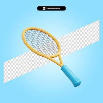 Ilustração em 3d da raquete de tênis isolada
