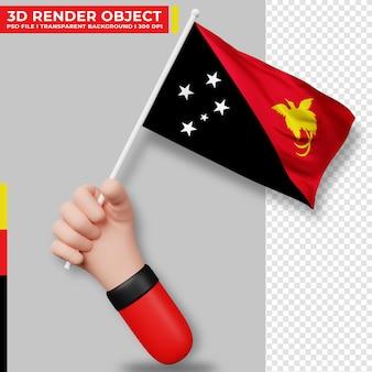 Ilustração fofa de uma mão segurando a bandeira da papua nova guiné, dia da independência da papua nova guiné