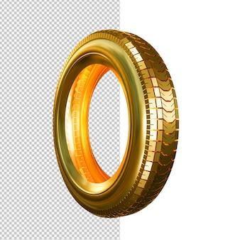 Ilustração isolada de pneu dourado