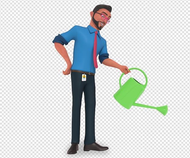 Ilustração isolada do personagem do homem de negócios mascote regando