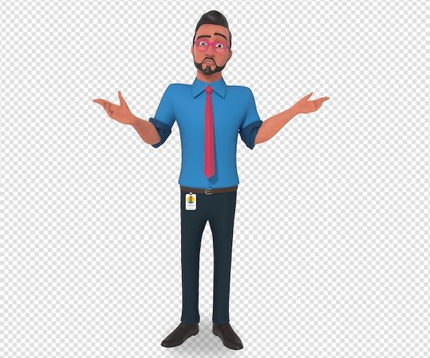 Ilustração isolada do personagem do mascote dos desenhos animados do homem de negócios em pé, confuso e triste
